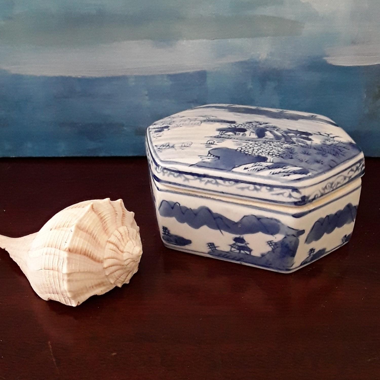 Vintage Hexagonal Blue and White Porcelain Trinket Box