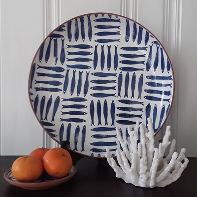 Blue and White Glazed Terra Cotta Fish Platter from Portugal