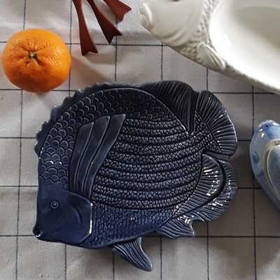 Blue Ceramic Fish Plate
