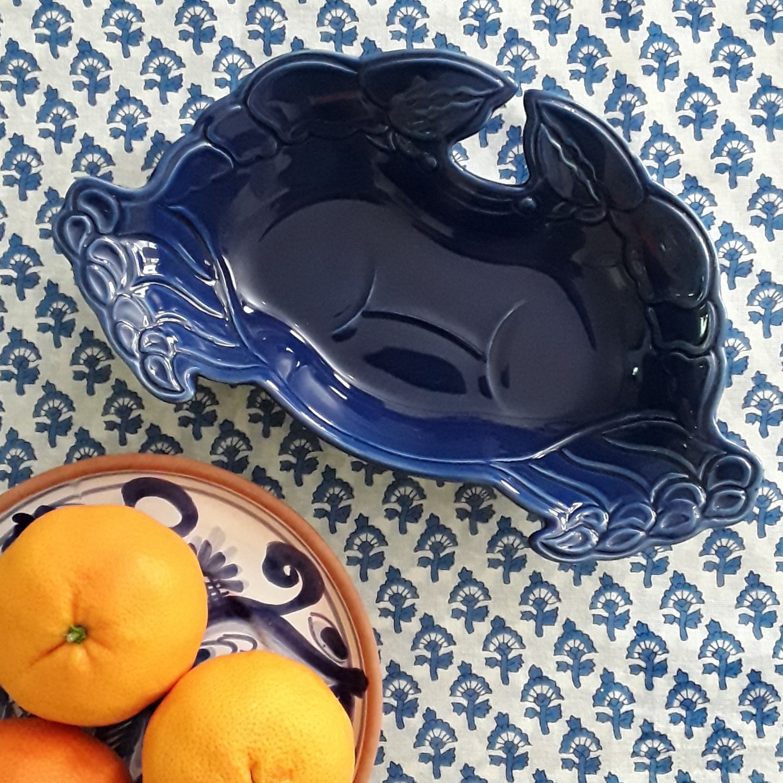 Blue Ceramic Crab Serving Dish