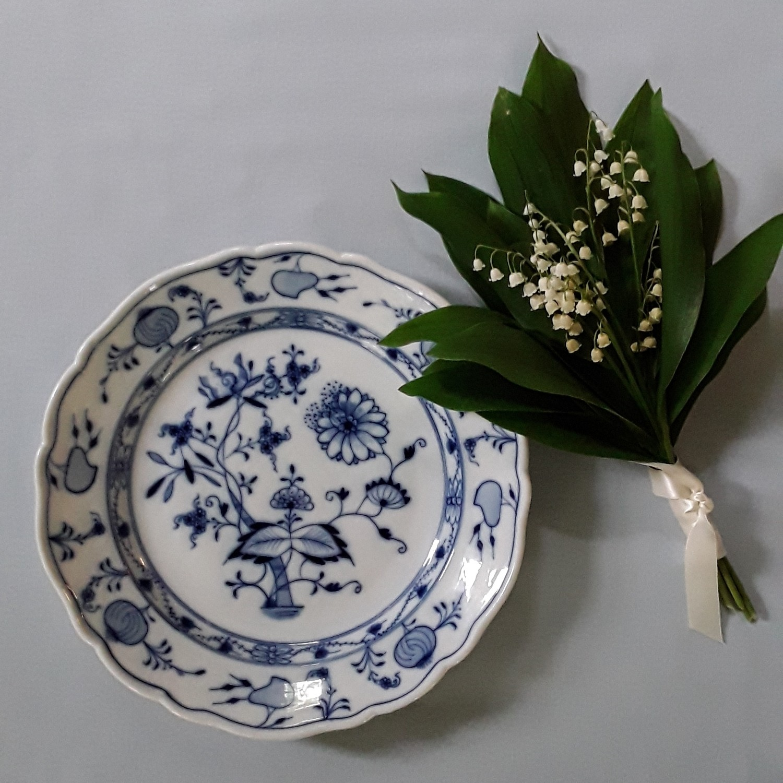 """Antique Teichert Blue and White Porcelain Plate """"Blue Onion"""""""