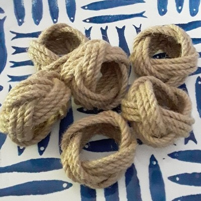 Set of 6 Nautical Rope Jute Napkin Rings