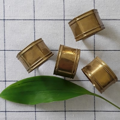 Set of 4 Vintage Indian Brass Napkin Rings