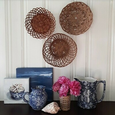 Set of 3 Vintage Hand-Woven Wicker Baskets