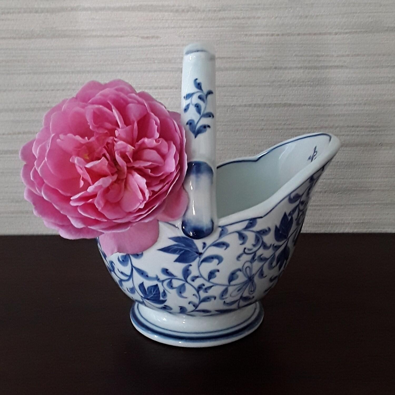 Vintage Andrea by Sadek Blue and White Porcelain Basket