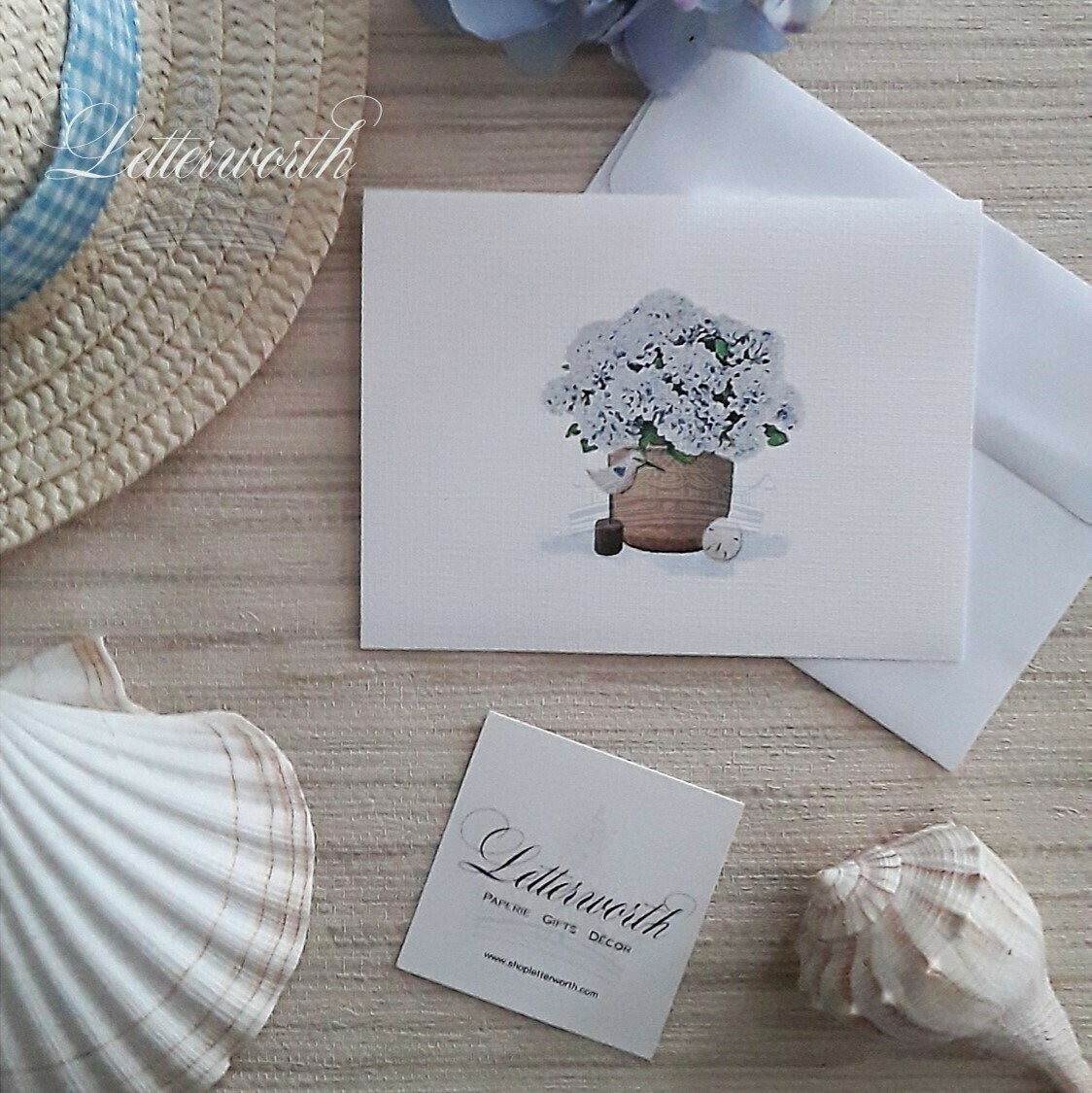 Letterworth Nantucket Basket with Blue Hydrangeas Watercolor Note Cards (Set of 8)