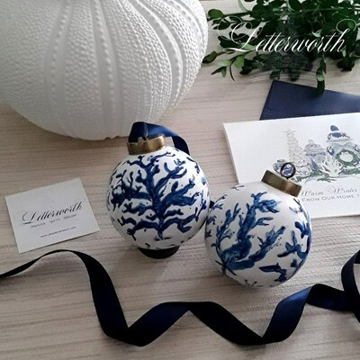 Hand-Painted Blue and White Porcelain Ball Christmas Ornament Sea Coral (Includes Gift Box)