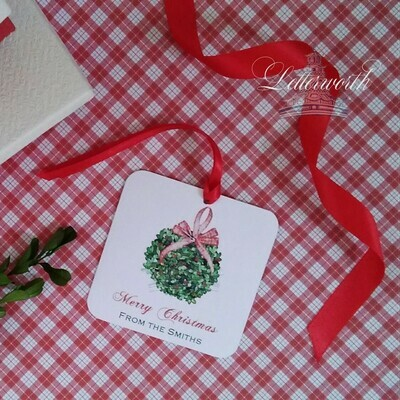 Boxwood Kissing Ball Watercolor Gift Tags by Letterworth (Set of 12)