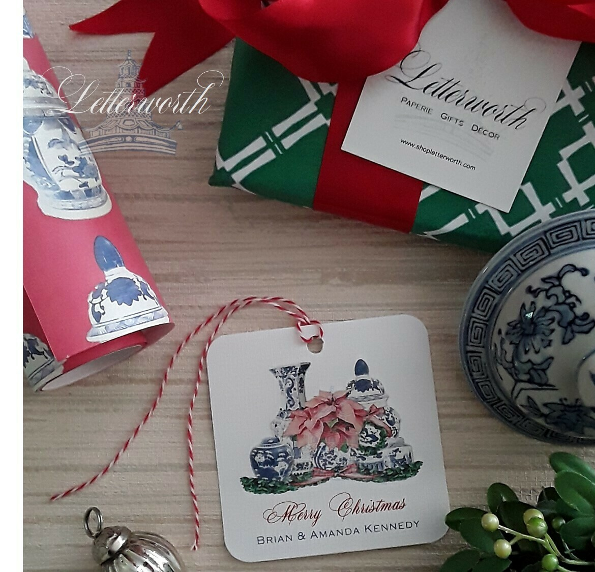 Blue and White Ginger Jar and Poinsettia Watercolor Gift Tags by Letterworth (Set of 12)