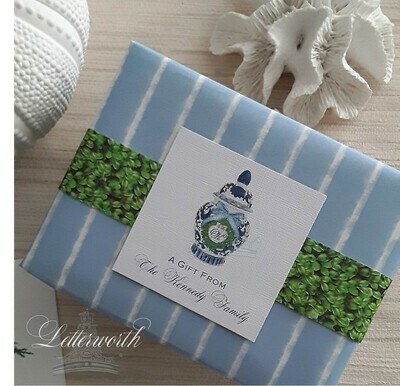 Coastal Ginger Jar Watercolor Personalized Gift Enclosure Cards by Letterworth (Set of 12)