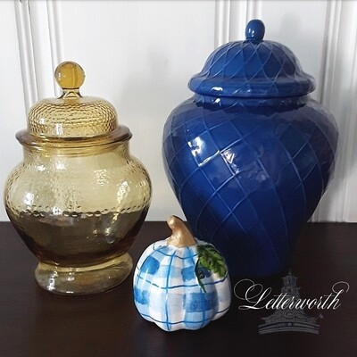 Hand-Painted Blue and White Plaid Porcelain Miniature Pumpkin with Gold Stem by Letterworth