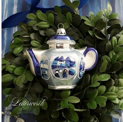 Blue and White Teapot Glass Ornament Thomas Glenn Holidays Collection Hand-Painted in Poland