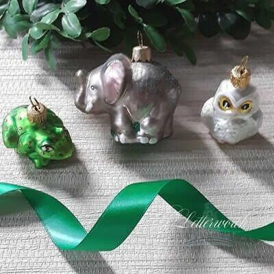 Set of 3 Mouth-Blown and Hand-Painted Glass Ornaments Made in Poland - Miniature Animals (Frog, Elephant, Owl)