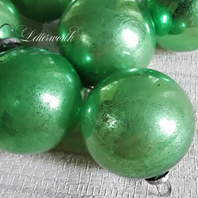 Set of 8 Vintage 1950's Green Glass Feather Tree Christmas Ornaments Made in Japan