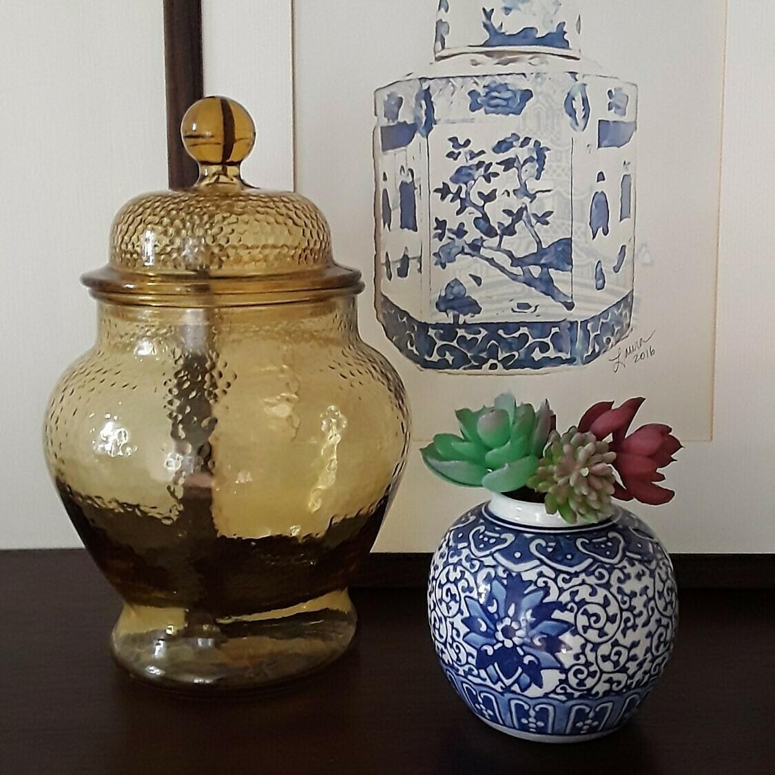 Vintage Amber Glass Ginger Jar
