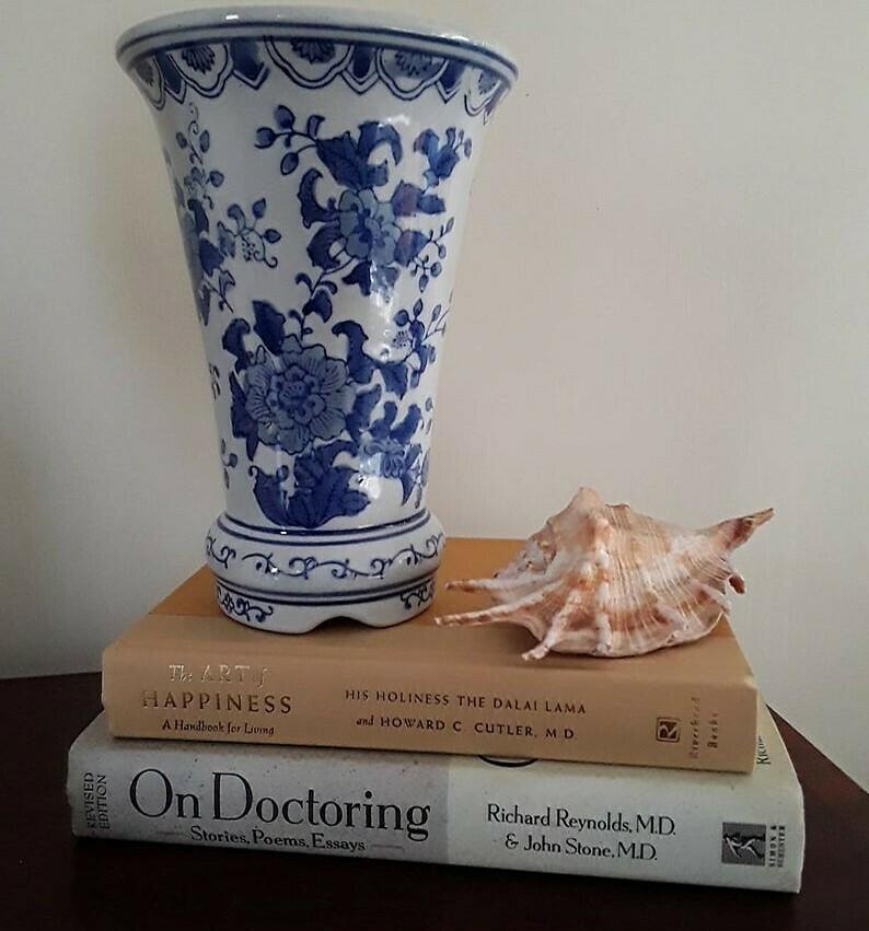 Vintage Blue and White Porcelain Trumpet Vase