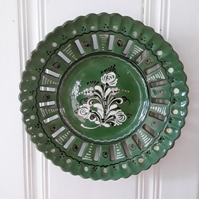 Vintage Green Ceramic Reticulated Plate From Hungary