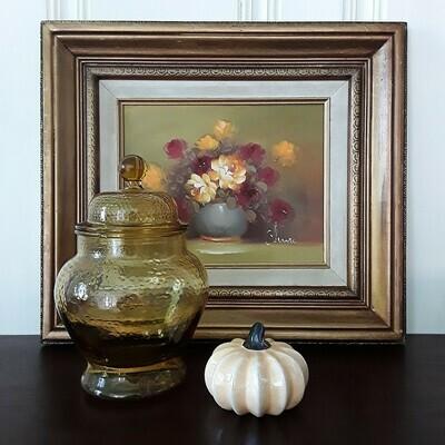 Vintage Original Framed Floral Oil Painting