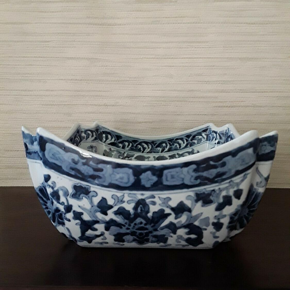 Vintage Blue and White Porcelain Square Cachepot