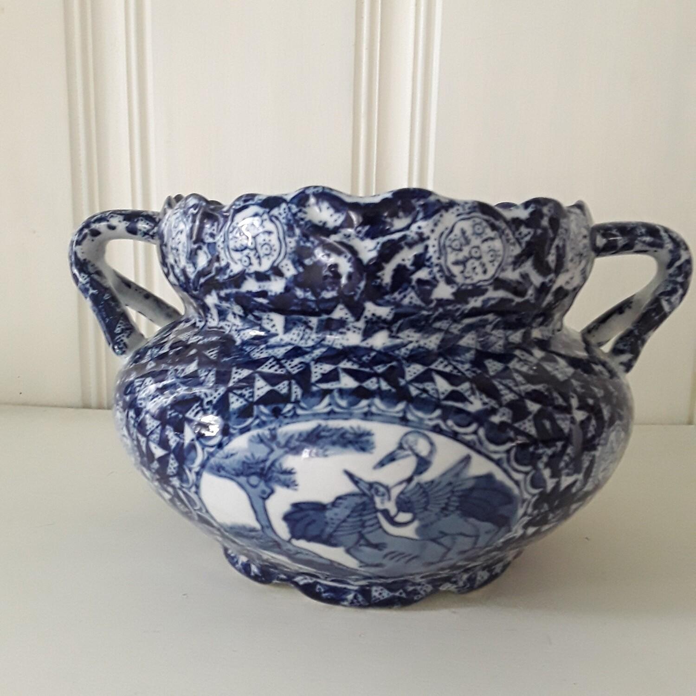 Vintage Blue and White Porcelain Handled Jardiniere