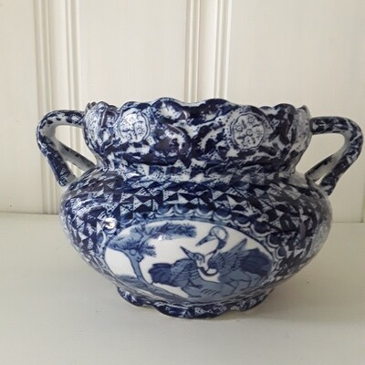 Vintage Blue and White Porcelain Handled Jardiniere