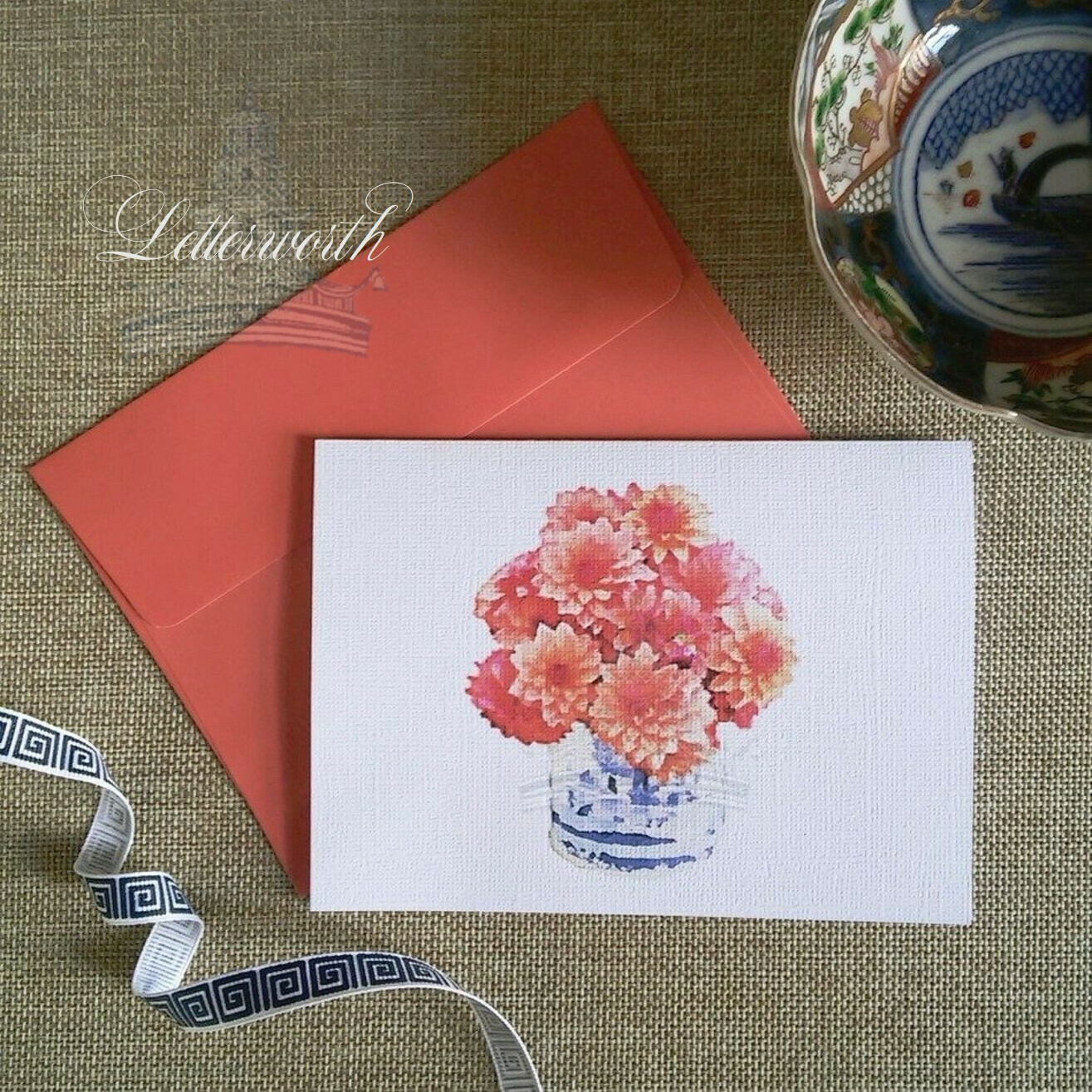 Dahlias in Blue and White Chinoiserie Cachepot Watercolor Note Cards by Letterworth (Set of 8)