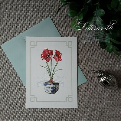Letterworth Red Amaryllis Watercolor Holiday Note Cards (Set of 8)