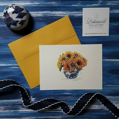 Letterworth Sunflowers in Blue and White Vase Note Cards (Set of 8)