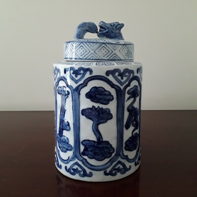 Vintage Blue and White Chinese Porcelain Round Tea Caddy