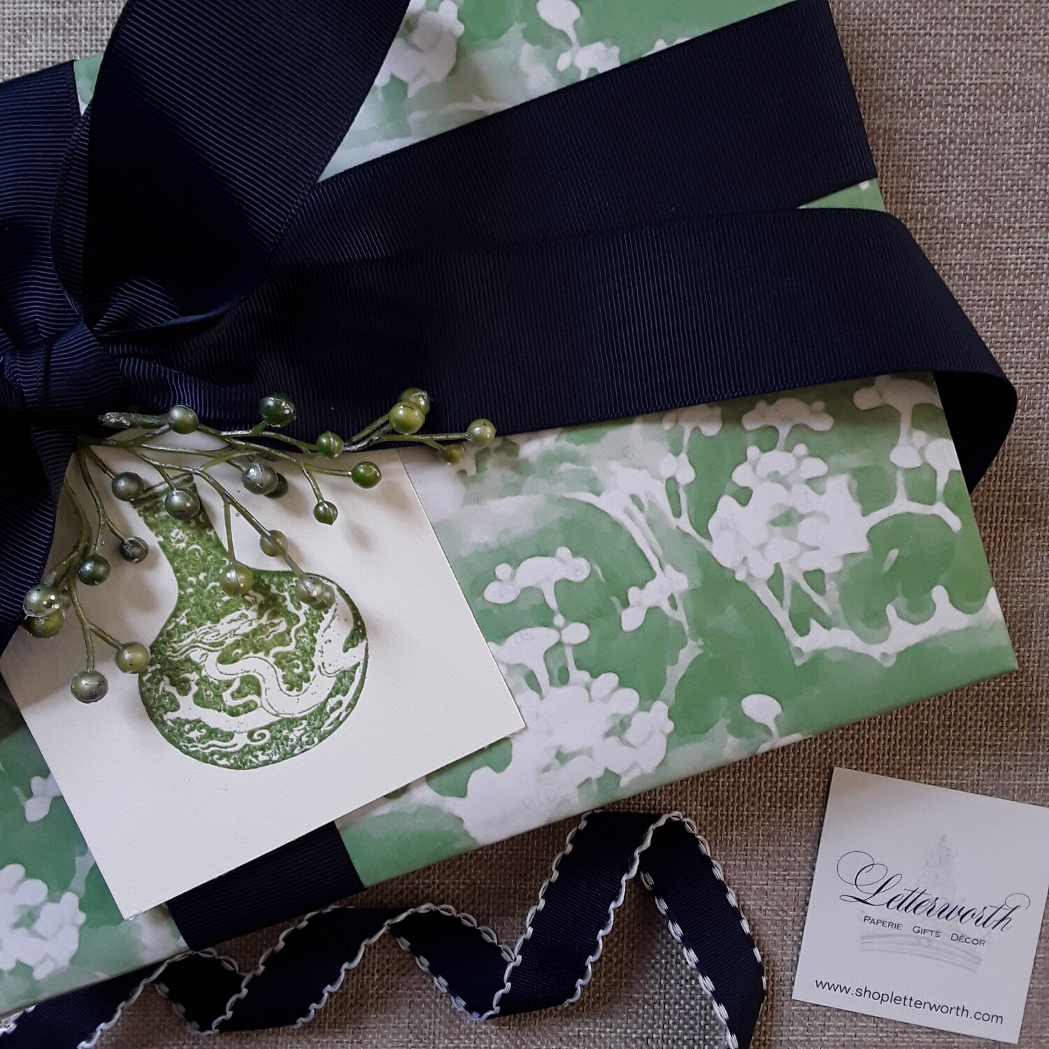 Chinoiserie Green Prunus Blossom  Gift Wrapping Paper by Letterworth