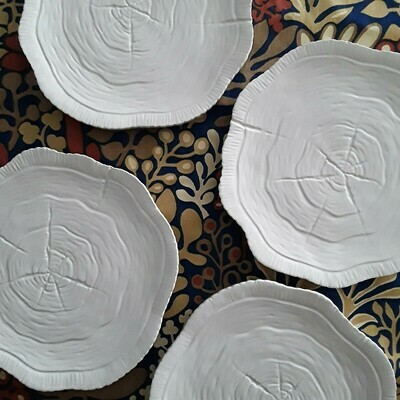 Set of 4 White Ceramic Faux Bois Plates