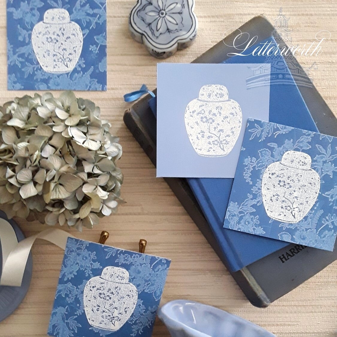 Hand-Embossed French Blue Prunus Blossom Enclosure Cards by Letterworth (Set of 12)