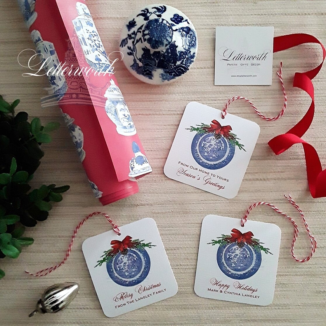 Blue Willow Holiday Gift Tags by Letterworth (Set of 12)