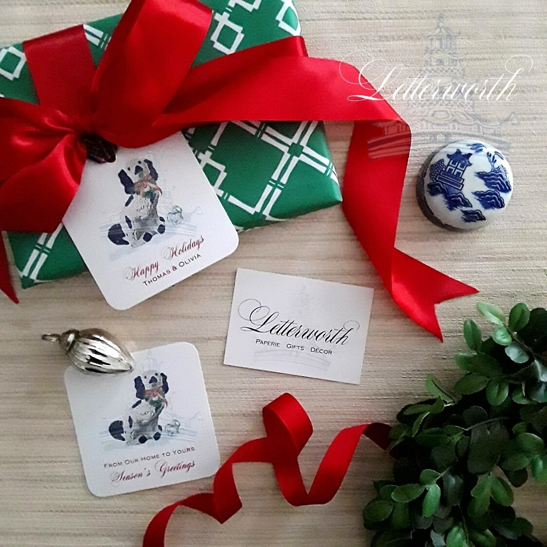Staffordshire Dog Holiday Gift Tags by Letterworth (Set of 12)