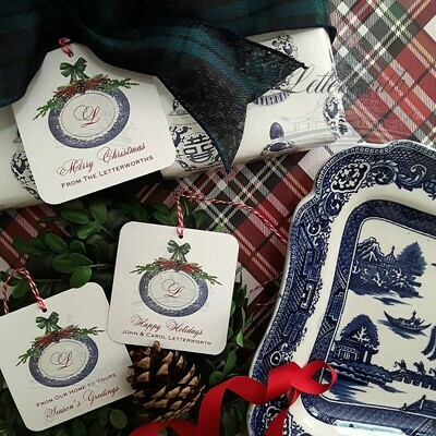 Willow Ware Monogram Holiday Gift Tags by Letterworth (Set of 12)