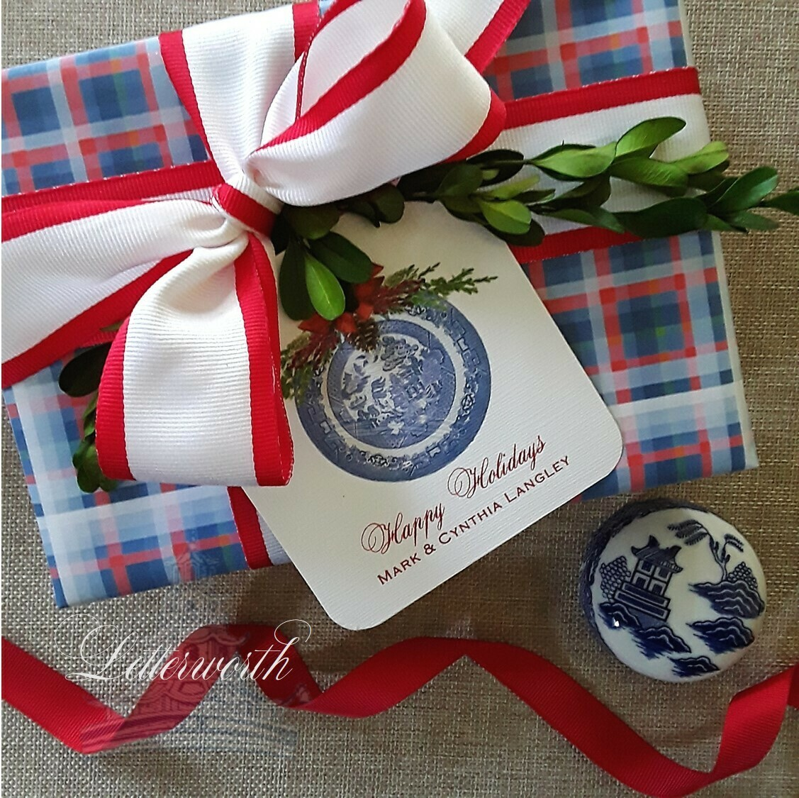 Blue and Red Plaid Gift Wrapping Paper by Letterworth