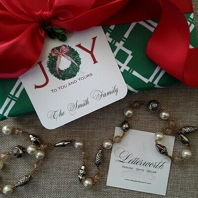 Boxwood Joy Personalized Red Holiday Gift Tags by Letterworth (Set of 12)