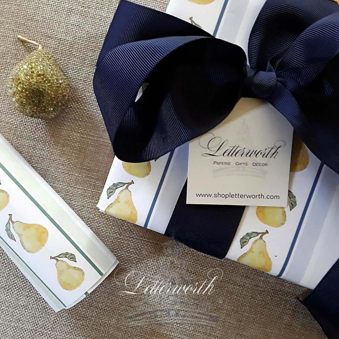 Pear Stripe Gift Wrapping Paper by Letterworth (2 Colors Available)