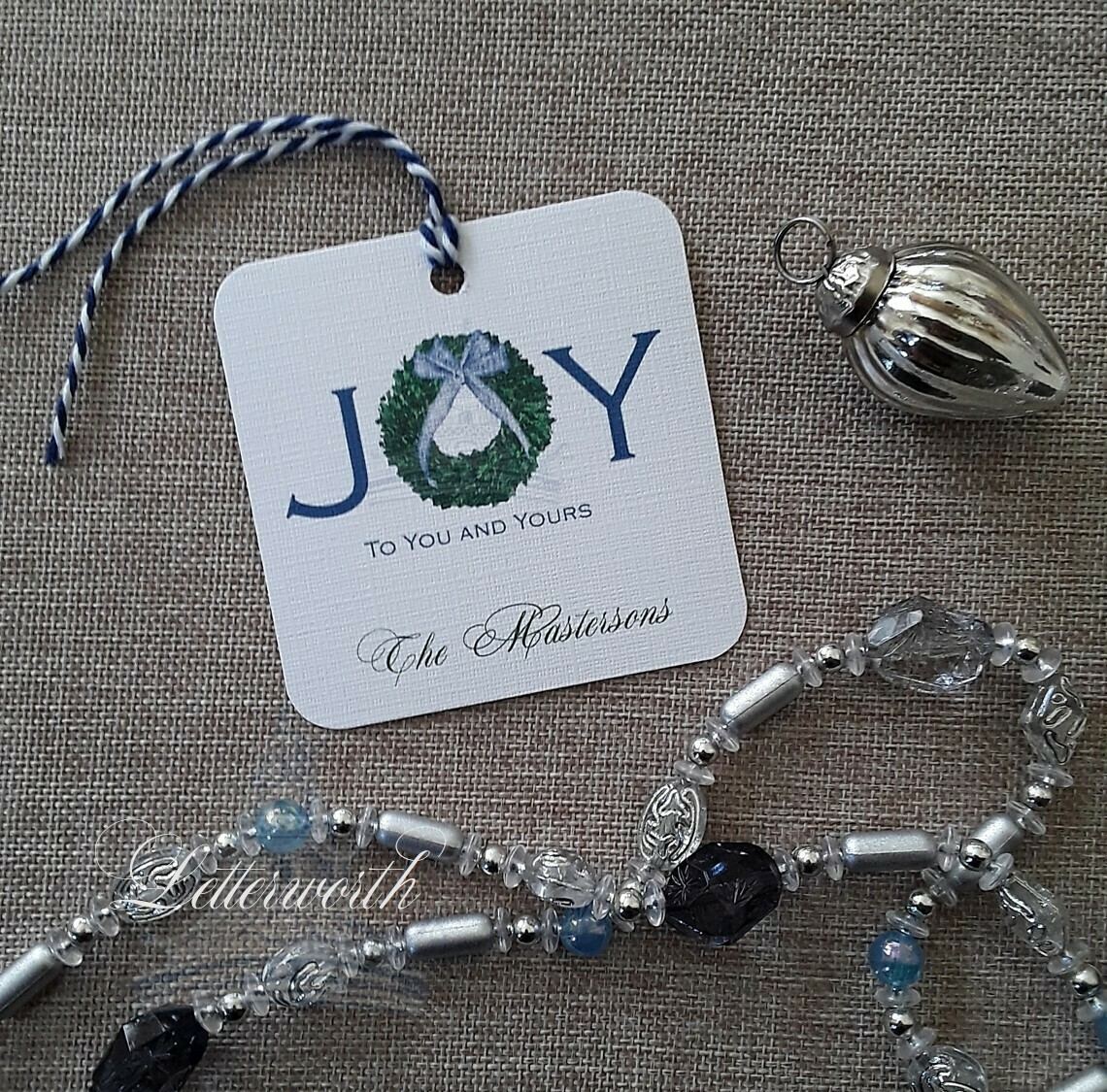 Boxwood Joy Personalized Blue Holiday Gift Tags by Letterworth (Set of 12)
