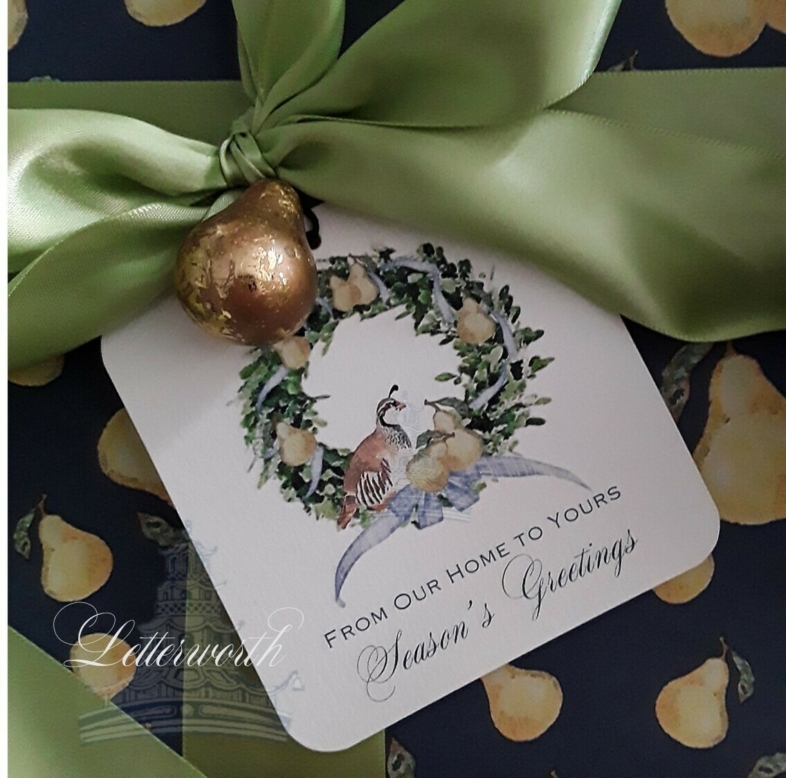 Partridge and Pear Wreath Holiday Gift Tags by Letterworth (Set of 12)