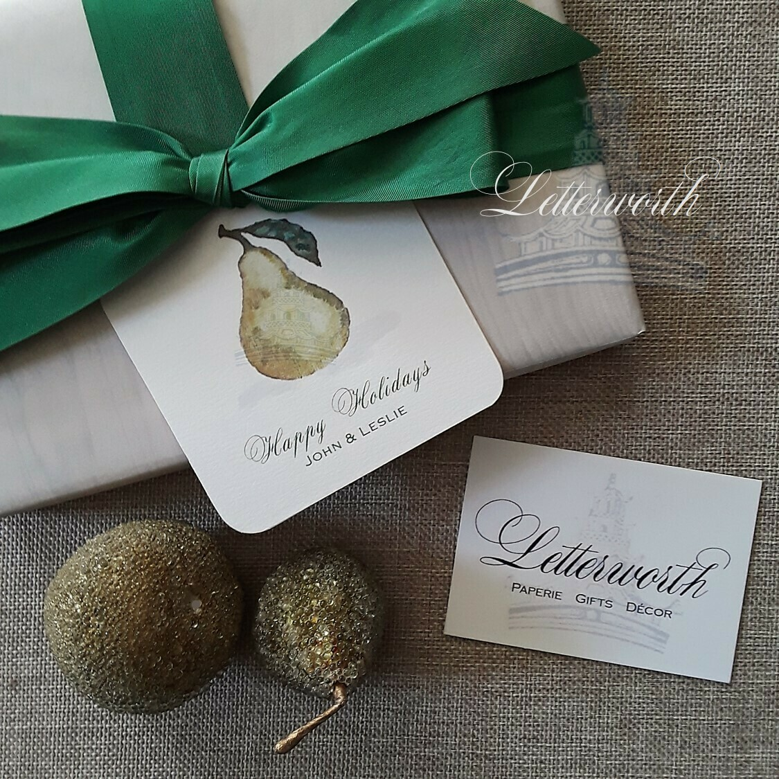Watercolor Pear Holiday Gift Tags by Letterworth (Set of 12)