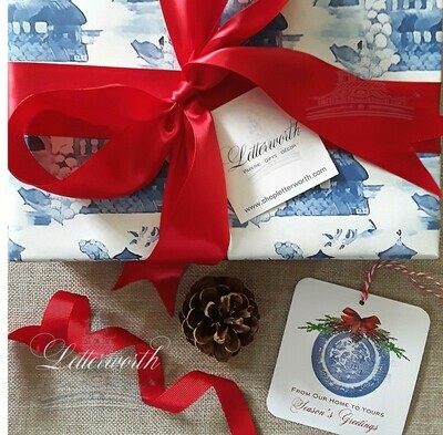 Blue and White Watercolor Willow Toile Gift Wrapping Paper by Letterworth