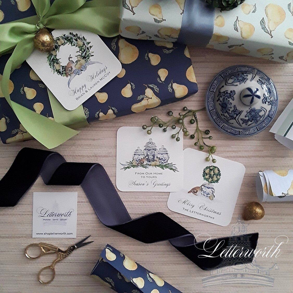 Watercolor Pear Gift Wrapping Paper by Letterworth (3 Colors Available)