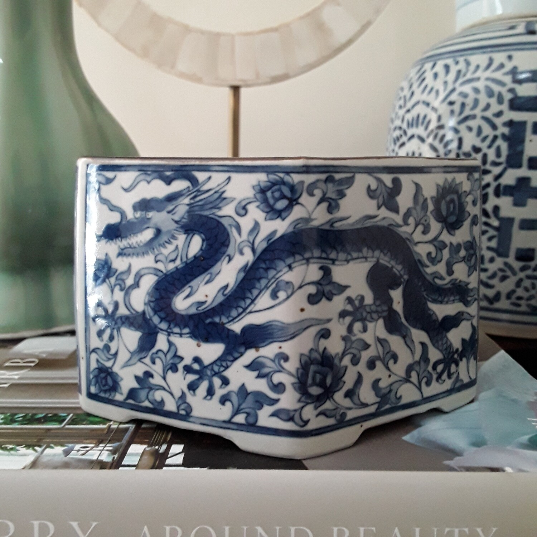 Vintage Blue and White Japanese Porcelain Dragon Candle Holder