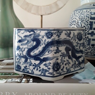 Vintage Blue and White Japanese Porcelain Dragon Candle Holder