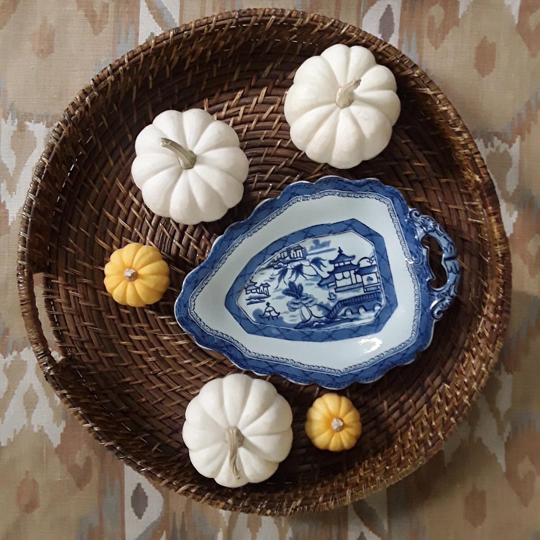 Vintage Blue and White Porcelain Canton Serving Dish