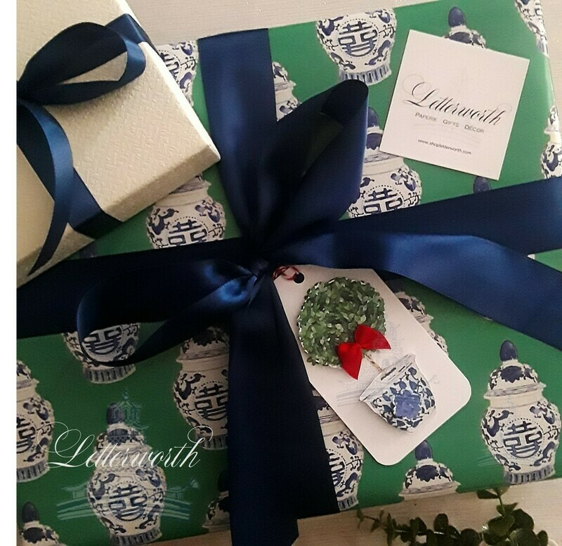 Blue and White Chinoiserie Ginger Jar on Kelly Green Gift Wrapping Paper by Letterworth