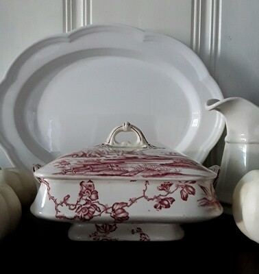 Antique Aesthetic Movement Red Transferware Tureen/Lidded Serving Dish