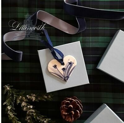 Vintage Handmade Blue and White Porcelain Heart Christmas Ornament