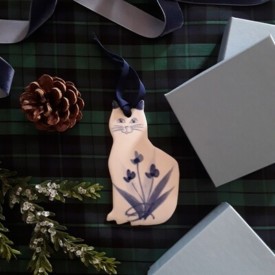 Vintage Handmade Blue and White Porcelain Cat Christmas Ornament